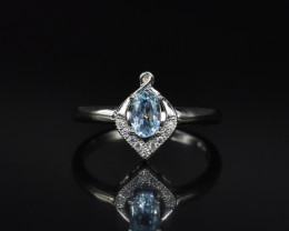 EXCLUSIVE RING Made with Genuine BLUE TOPAZ and Sterling Silver GR753