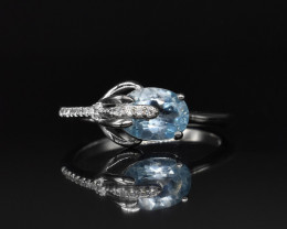 EXCLUSIVE RING Made with Genuine BLUE TOPAZ and Sterling Silver GR756