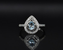 EXCLUSIVE RING Made with Genuine BLUE TOPAZ and Sterling Silver GR757