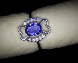 9.65 Crts Tanzanite Ring In Rhodium Coated 92.5 Silver & CZ