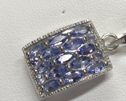 Natural Tanzanite 925 Silver Necklace Plus Chain