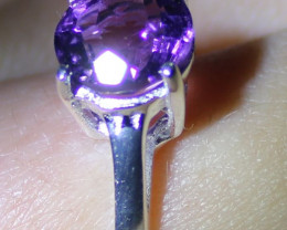 Amethyst 1.22ct Platinum Finish Solid 925 Sterling Silver Solitaire Ring