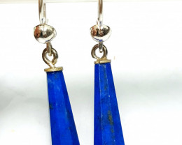 Amazing Natural color Lapis Lazuli Earring Pair with sliver 25.65Cts-A