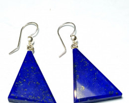 Amazing Natural color Lapis Lazuli Earring Pair with sliver 48.1Cts-A