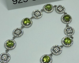 Natural Peridot With Cz 925 Silver Bracelet