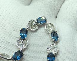 Natural London Blue Topaz With Cz 925 Silver Bracelet