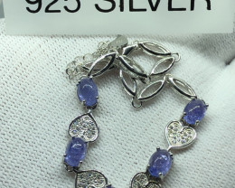 Natural Tanzanite With Cz 925 Silver Bracelet