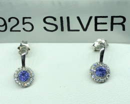 Natural Tanzanite With Cz 925 Silver Earrings