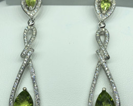 Natural Peridot With Cz 925 Silver Earrings