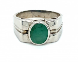 Emerald 1.84ct Platinum Finish Solid 925 Sterling Silver Mens and Boys Soli