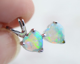 Gorgeous Double Heart 14K White Gold Opal Pendant - OPJ 2283