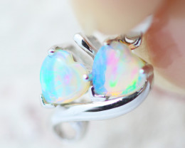 Double Heart 9K White Gold Opal Pendant - OPJ 2285