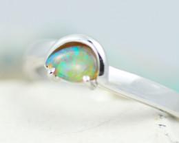 Gem Quality 18K White Gold Crystal Opal Ring - OPJ 2269