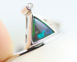 Boho Earth 18K White Gold Black Opal Ring - OPJ 2271