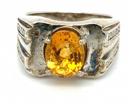 Citrine 1.80ct Platinum Finish Solid 925 Sterling Silver Mens and Boys Soli