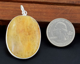 Genuine 62.00 Cts Tibet Silver Aventurine Pendant
