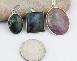 Genuine 74.00 Cts Mix Gem Tibet Silver Pendant