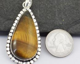 Genuine 83.00 Cts Tiger Eye Tibet Silver Pendant