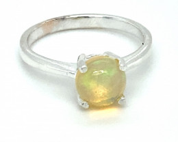 Welo Opal 1.32ct Platinum Finish Solid 925 Sterling Silver Solitaire Ring