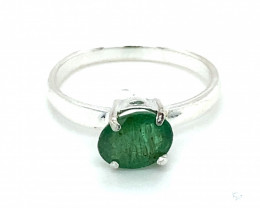 Emerald 1.02ct Platinum Finish Solid 925 Sterling Silver Solitaire Ring