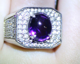 Amethyst 5.40ct Platinum Finish Solid 925 Italian Sterling Silver Mens and