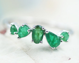 Earthy 10K White Gold Emerald Ring 5 - RE 12427