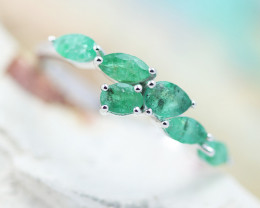 Earthy 10K White Gold Emerald Ring 6 - RE 12426