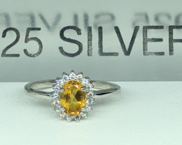 Natural Citrine With Cz 925 Silver Ring