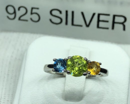 Natural Peridot Citrine And Blue Topaz 925 Silver Ring