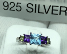 Natural Blue Topaz Amethyst And Peridot 925 Silver Ring