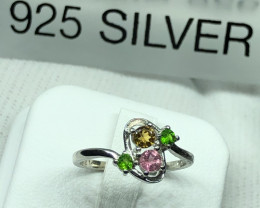 Natural Tourmaline 925 Silver Ring
