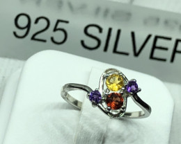 Natural Citrine,Garnet And Amethyst 925 Silver Ring