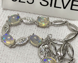 Natural Opal With Cz And Full Fire 925 Silver Bracelet