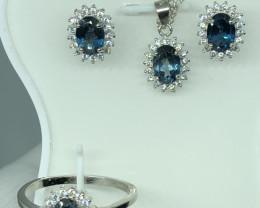 Natural London Blue Topaz Set With Cz 925 Silver Set