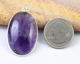 Genuine 52.00 Cts Amethyst Tibet Silver Pendant