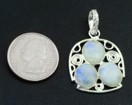 Genuine 31.00 Cts Moonstone Tibet Silver Pendant