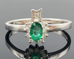 6.59 Crt Natural Emerald With Cubic Zircon 925 Silver Ring