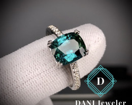 Indicolite Blue Tourmaline  925 Silver Ring by DANI Jewellery