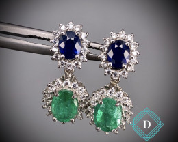 Emerald & Sapphire  Earring in 925 Silver by DANI Jewellery