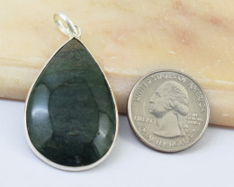 Genuine 48.00 Cts Moss Agate Tibet Silver Pendant