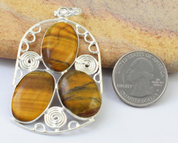 Genuine 73.00 Cts Golden Tiger Eye Tibet Silver Pendant