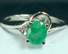 Natural Emerald Gemstone. Silver925 Ring. DED 148