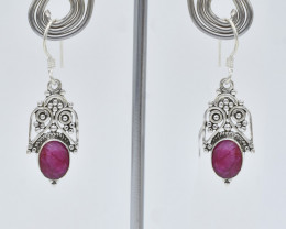 RUBY EARRINGS 925 STERLING SILVER NATURAL GEMSTONE JE161