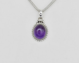 AMETHYST PENDANT 925 STERLING SILVER NATURAL GEMSTONE JP143