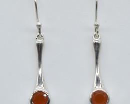 CARNELIAN EARRINGS 925 STERLING SILVER NATURAL GEMSTONE JE89