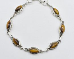 TIGER EYE BRACELET NATURAL GEM 925 STERLING SILVER JB165