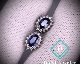 Natural Sapphire Earring  in 925 Silver by DANI Jewellery