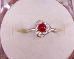 Natural Ruby Cabochon Ring
