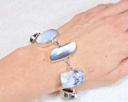 173.0 Tcw. Dendritic Opal / 9.25 Sterling Silver Bracelet - Gorgeous