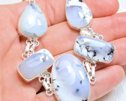142.0 Total Carat Weight Dendritic Opal / 9.25 Sterling Silver Bracelet - G